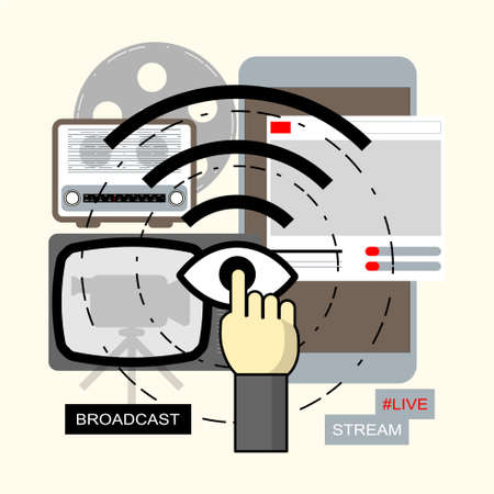 Communication technology changed from past to present. Coming of social media concept. Vector illustration.
