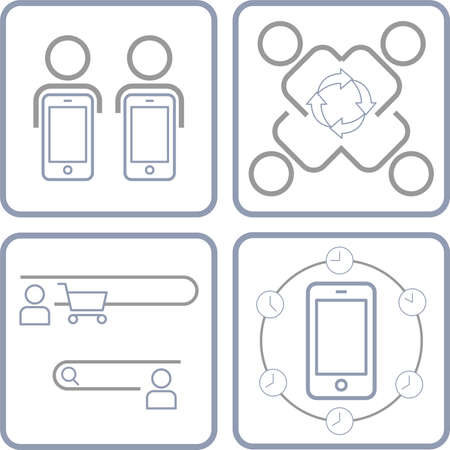 Human relations and behaviors in internet era. Editable strokes, outline icon set. Vector illustration.
