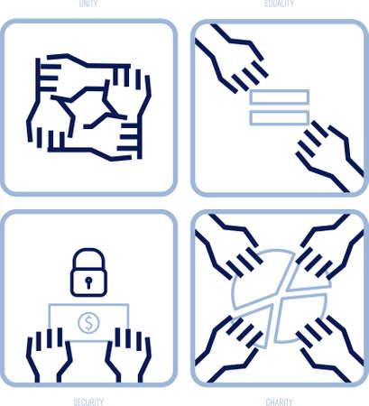 Set of hand activities represent social values: unity, equality, security and charity. Editable strokes, outline icon set. Vector illustration.