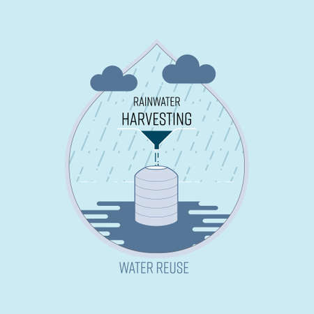 Rainwater harvesting, water reuse, save water concept. Vector illustration. Ilustração