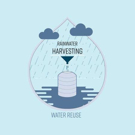 Rainwater harvesting, water reuse, save water concept. Vector illustration. Illustration