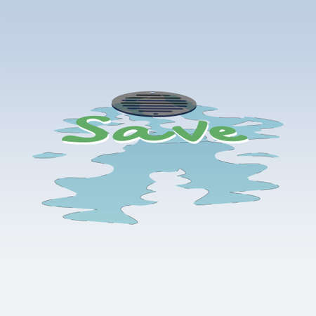 A Close-up view of water running into drain hole with emphasized typographic. Save water concept. Vector illustration.