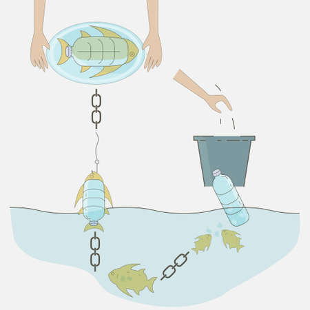 A diagram of how is plastic trash affecting the ocean food chain. Ocean plastic pollution concept. Vector illustration.
