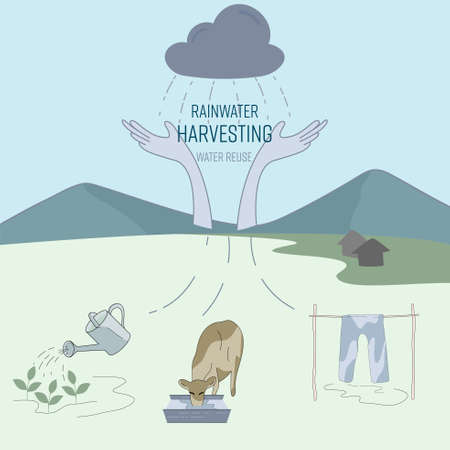 Rainwater harvesting for household water use in rural area. Water reuse, save water concept. Vector illustration.
