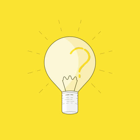 A lighten bulb with question mark as a reflection shadow represent enlightenment. Vector illustration.