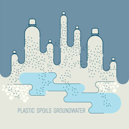 Plastic break down into smaller pieces, full of toxic chemicals which is seeping into groundwater. Plastic spoils groundwater concept. Vector illustration.
