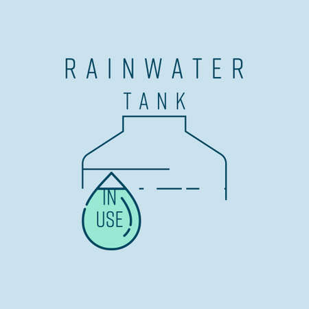 Water tank and drop outline on pale blue background as rainwater use icon,sign,symbol,label. Vector illustration.