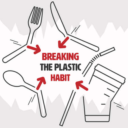 Open end outline flat icon of cutlery,straw and beverage cup as a gimmick to communicate an act of breaking the habit. Breaking the plastic habit concept. Vector illustration.