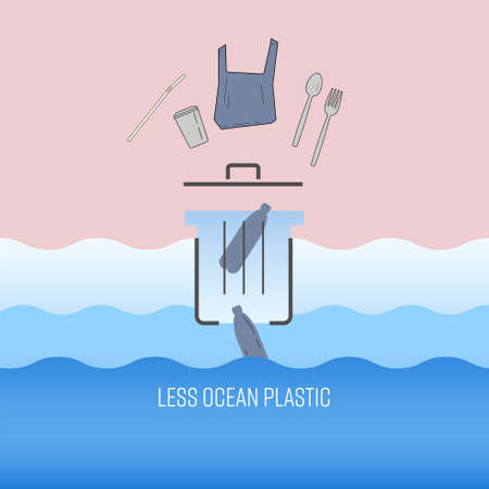 Single-use plastic waste putting in trash can, end up in the ocean. Less ocean plastic concept. Vector illustration.
