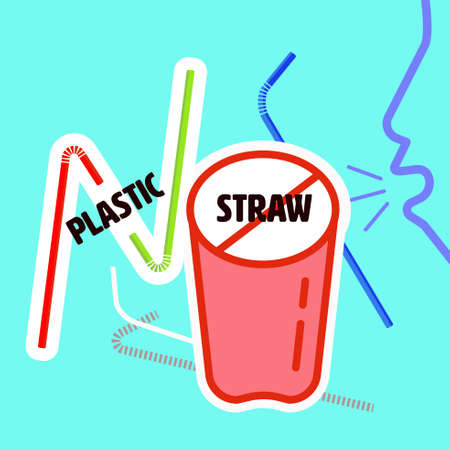 Plastic straw flat icon as a colorful gimmick to present say no typographic. Vector illustration.