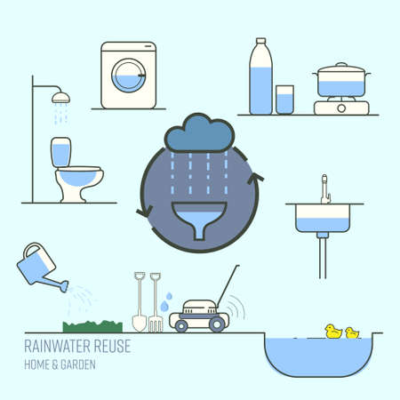 Rainwater harvesting for home and garden reuse. Save water concept. Vector illustration.