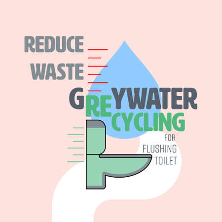 Greywater recycling typographic design with flush toilet and water level icon as gimmicks. Reduce waste water concept. Vector illustration.