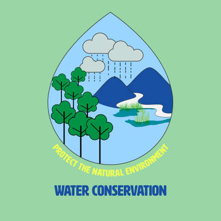 Outline flat symbols of natural environment inside water drop shape as a gimmick. Protecting nature to conserve water concept. Vector illustration.