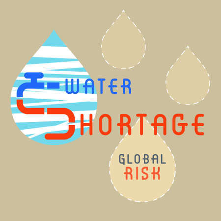 Water shortage typographic design with outline flat graphic drop symbol. Vector illustration.