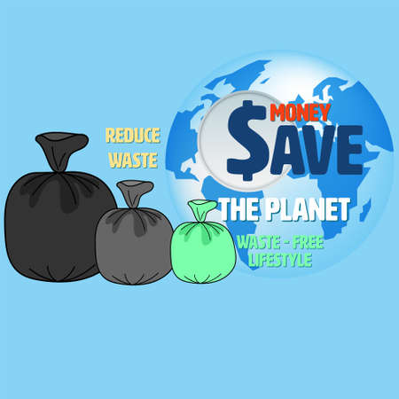 Garbage bags sorted by size as a gimmick with typographic design on planet background. Becoming waste-free lifestyle will save your money and the planet concept. Vector illustration.