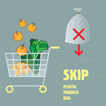 Skip plastic produce bag concept. Outline flat icon of shopping items with typographic design as a gimmick. Vector illustration.