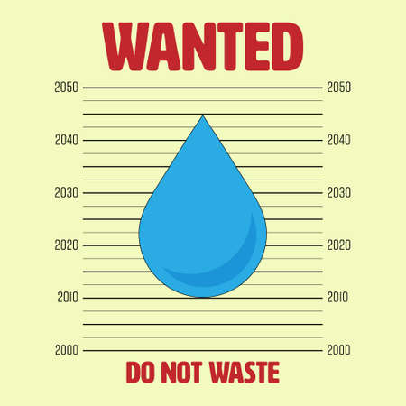 Outline flat icon of water drop on wanted announcement background as a gimmick. Protect water, do not waste concept. Vector illustration.