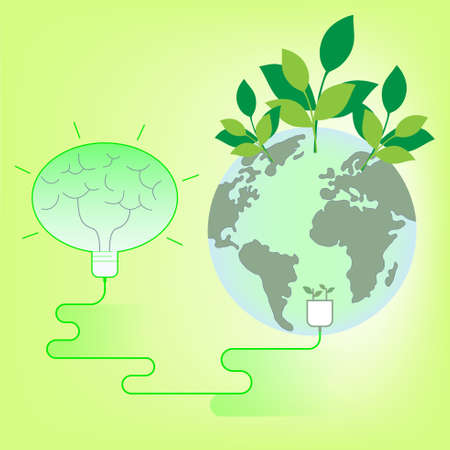 Brain symbol inside light bulb connect to the planet. Think green concept. Vector illustration.