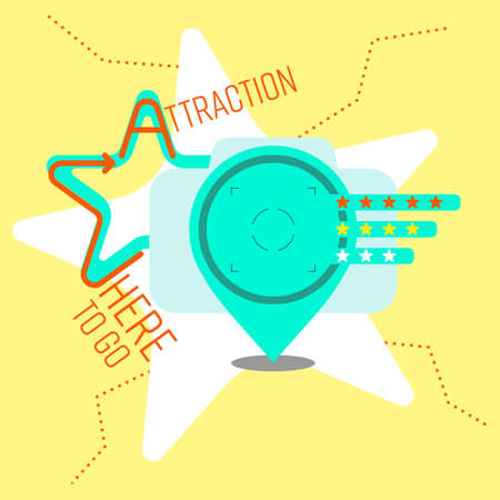 Composition of outline flat icons and typographic design. Tourist attraction concept. Vector illustration. Ilustrace
