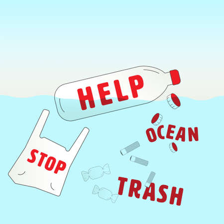 Top 5 items of ocean trash infographic with words as  message in a bottle gimmick to communicate. Type of ocean trash concept. Vector illustration. Illustration