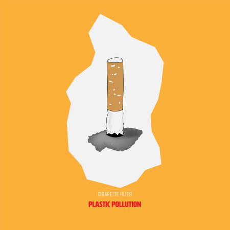 Cigarette filter, a type of plastic, dumped improperly causing plastic pollution. Vector illustration.  イラスト・ベクター素材