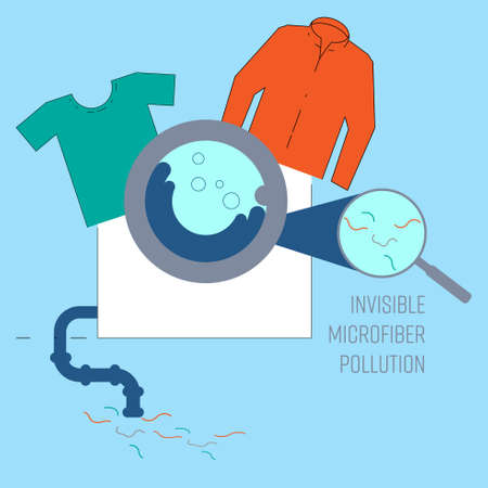 Wastewater from washing machine consist of microfibers which are invisbile and leaching into waterway. Plastic pollution concept. Vector illustration.
