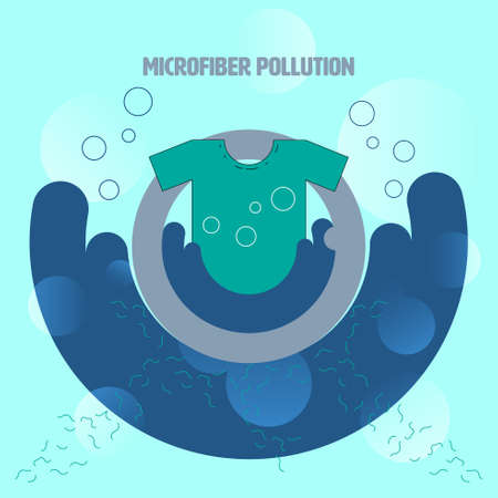 By washing clothes microfiber shedding and flow down the drain into waterway. Microfiber pollution concept. Vector illustration.