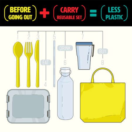 Carry your own reusable set of utensils before going out to reduce and refuse single-use plastic. Less plastic life concept. Vector illustration. Ilustrace