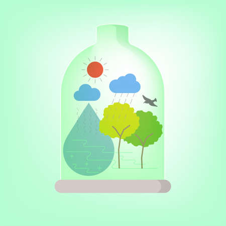 Preserving Ecosystem concept. Terrarium outline flat graphic design as a gimmick. Vector illustration.