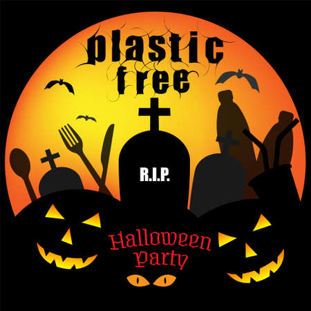 Typographic design with composition of single-use plastic product icons and halloween symbols. Plastic free halloween party concept. Vector illustration.