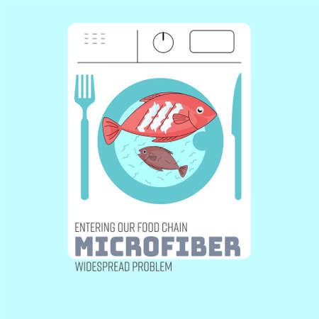 Front load washing machine outline apply to an eating icon represent consumption of contaminated fish. Microfiber entering into our food chain concept. Vector illustration.