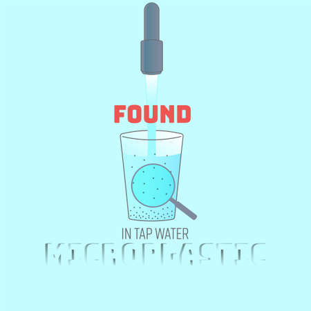 Tap water with contamination of plastic particles enlargement. Microplastic found concept. Vector illustration.