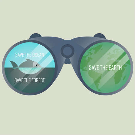 Save environment symbols apply to binocular lens represent overall image of environmental protection. Save environment concept. Vector illustration.