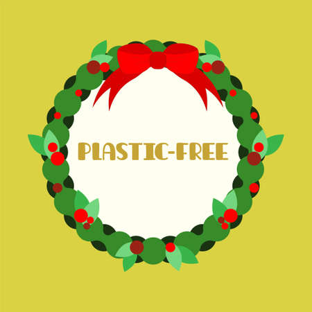 Christmas wreath with bow flat icon. Plastic free christmas concept. Vector illustration.