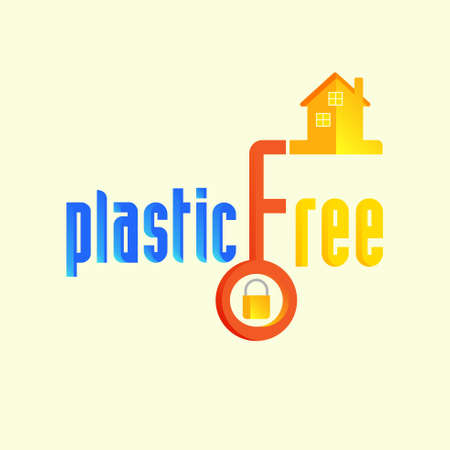 Plastic free typographic design with home key as a gimmick. Living without plastic to save environment concept. Vector illustration.