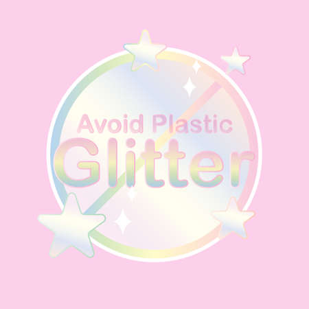 Plastic glitter ban symbol with sparkling icons. Vector illustration.