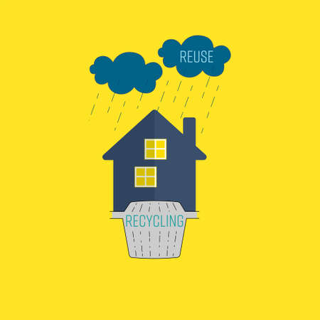 Greywater recycling and reuse at home with wastewater treatment tank and raining icon as a gimmick. Water conservation concept. Vector illustration.