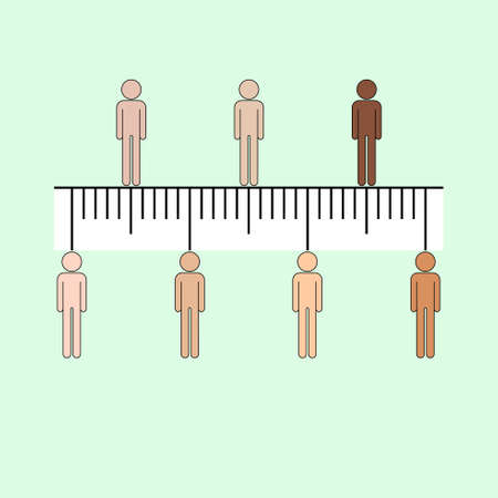 Human icons aligned in straight row on ruler symbol representing equality rights. Vector illustration.