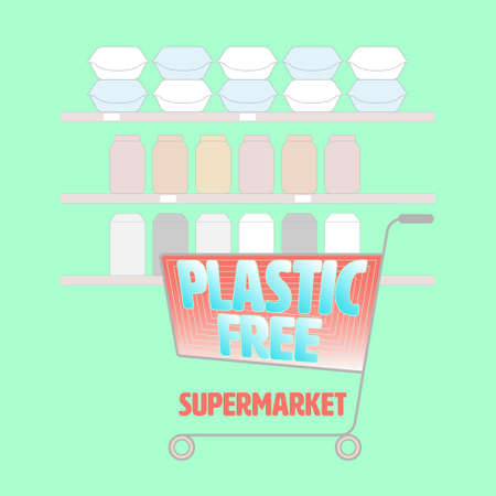 Supermarket trolley symbol with plastic free typographic design, and background of shelves with non-plastic packaging product. Vector illustration.
