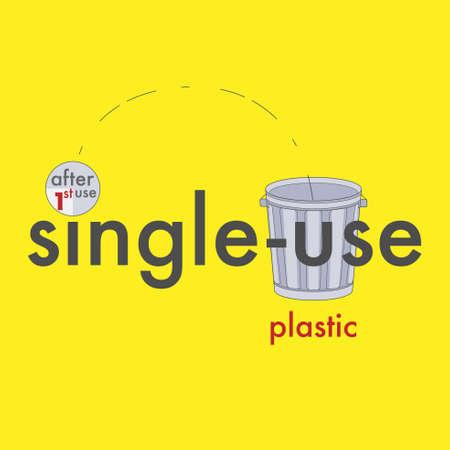 Single-use plastic typographic design. Vector illustration.