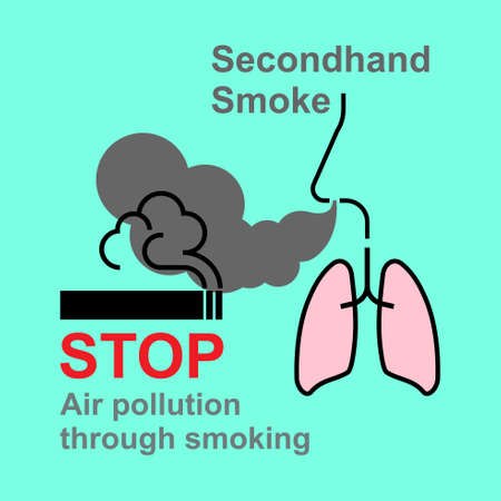 Cigarette smoking cause air pollution, secondhand smoke have an effect on human health. Vector illustration.