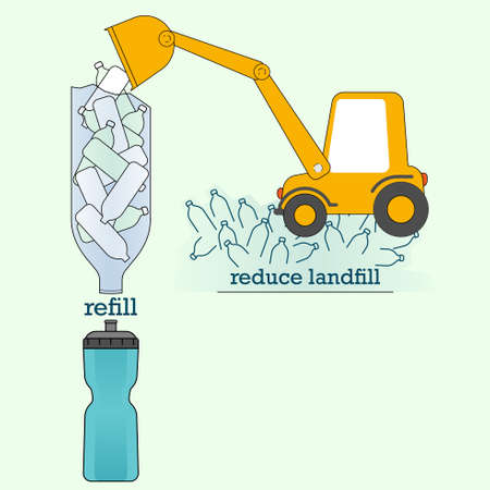 Turn plastic bottle into a funnel as a joined-up gimmick, representing cut out single-use and refill instead, help reduce plastic landfill. Vector illustration.