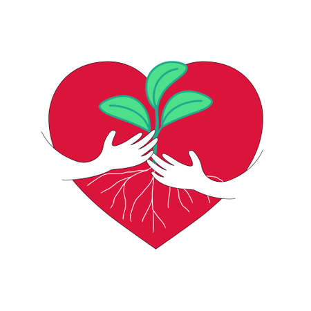 Red heart with hand embrace a young tree. Love nature concept. Vector illustration.
