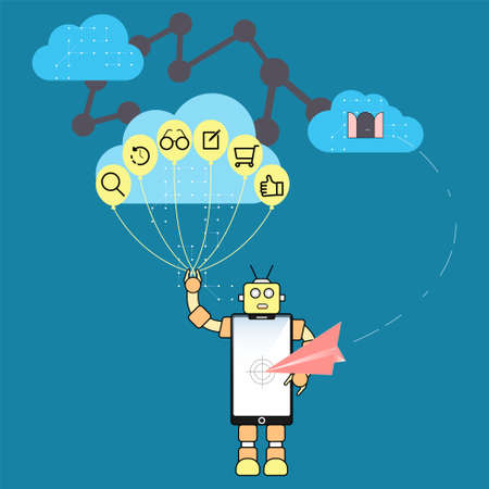 Algorithm marketing concept. Modern personalization marketing metaphor. Behavioral data analizing technology. Digital marketing symbol. Vector illustration flat design style. Vektorové ilustrace