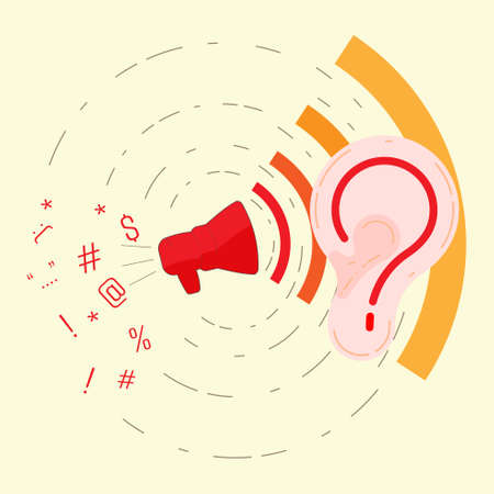 Listening to problem concept. Pay attention to complainer metaphor. Respond to complaint. Symbol of help center. Vector illustration concept outline flat design style. Vectores