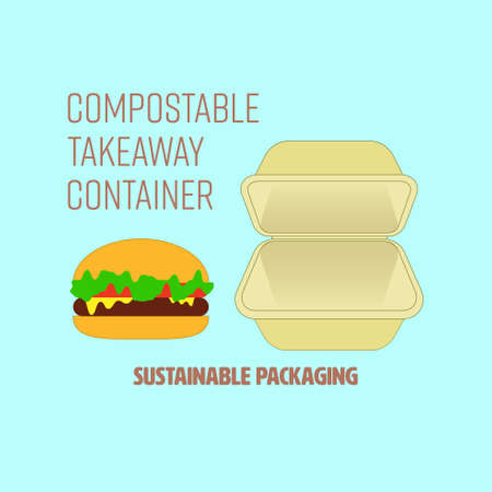 Hamburger and compostable cornstarch food container with text representing sustainable packaging. Vector illustration. Illusztráció