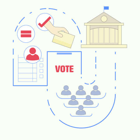 Voting and election concept. Political participation metaphor. Right to vote for representatives. Info graphic of political democracy.