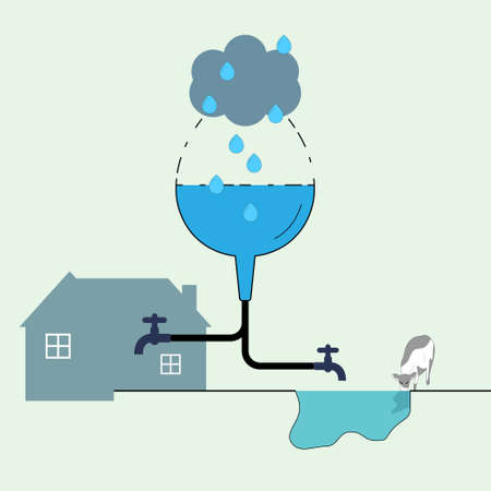 Water drop shape transform to funnel icon as a gimmick to represent rainwater harvesting for household use. Water reuse, save water. Vector illustration.