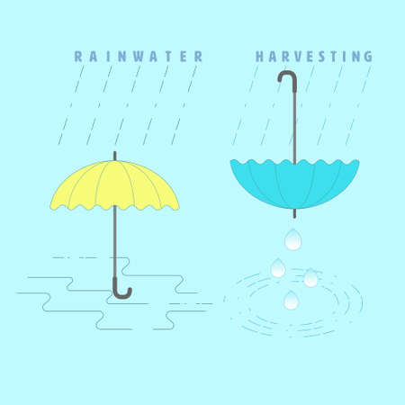 Rainwater harvesting concept. Rainwater collecting metaphor. Symbol of capturing of rainwater and water run-off for reuse. Vector illustration outline flat design style.