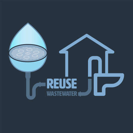 Reuse wastewater concept. Save environment metaphor. Household wastewater recycling. Symbol of domestic water reuse system. Vector illustration outline flat design style.